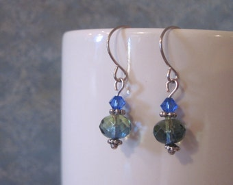 Blue-green dangle earrings - swarovski bicone- antique silver