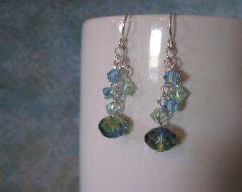 Blue-green dangle earrings swarovski
