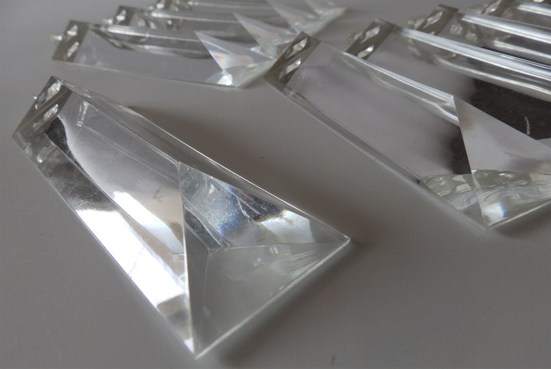 Great Condition 4-38 Long x 1-38 Wide Multiple Sets Available! Set of 10 Mid Century Lucite Acrylic Resin Chandelier Prisms