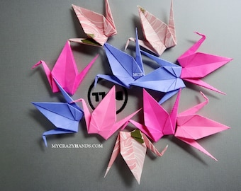 24+ medium origami cranes 4'' wingspan and 2'' height     happiness, health, good luck -shades of pink lavender