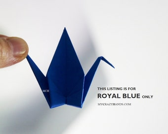 100 medium origami cranes    4'' wingspan 2'' height -royal blue