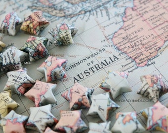 70 small 0.8'' vintage world map origami lucky stars   3D paper wishing stars   gift for map lovers -the vintage world