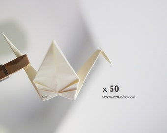 50 medium origami cranes 4'' wingspan and 2'' height     happiness, health, good luck -ivory or white