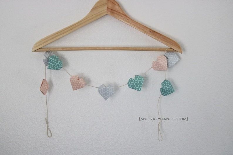 origami balloon heart garland  nursery garland  nursery image 0