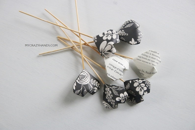 7 origami wedding cake toppers  balloon heart bouquet  image 0