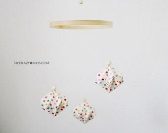 """Φ 6"""" origami baby mobile   origami nursery decor    origami corner wall hanging   gift for baby shower -rainbow dot diamonds"""