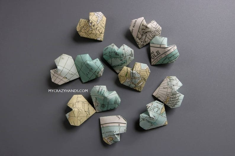 12 texture map balloon hearts  origami heart favors  map image 0