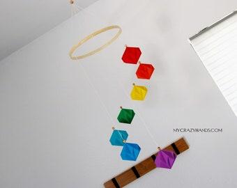 """Φ 8"""" origami spiral mobile   geometric origami mobile    rainbow origami nursery decor   living room decor -rainbow diamonds"""