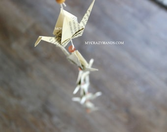large origami cranes garland   string of origami cranes    ECO friendly wall decor -vintage book pages