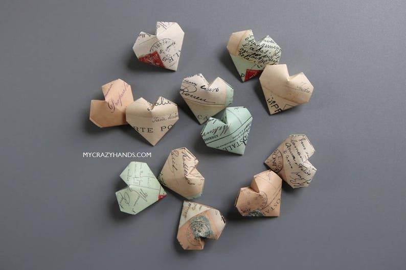 12 origami balloon hearts  texture paper heart favors  image 0