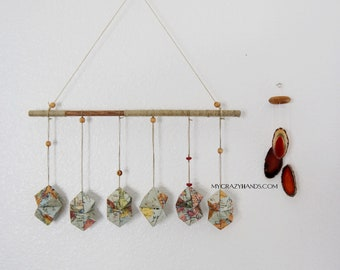 vintage map wall hanging   origami geometric wall decor    origami rocks -the vintage world