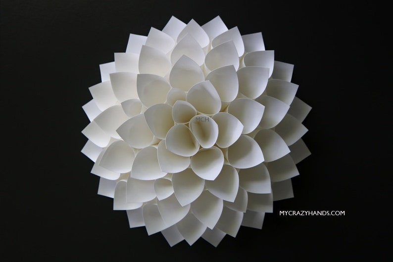 white paper dahlia  10'' dahlia wall decor  wedding image 0