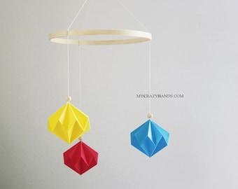 """Φ 8"""" geometric origami baby mobile   origami nursery decor   origami corner wall hanging    gift for baby shower -primary colors diamonds"""