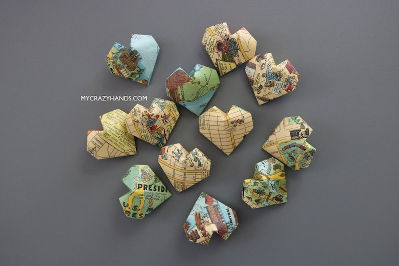 12 texture SF map balloon hearts  origami heart favors  image 0