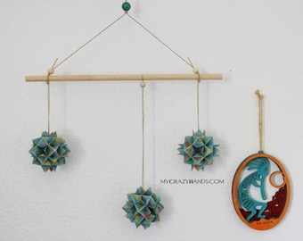 origami geometric mobile   origami wall hanging   living room decoration   origami kusudama mobile  -teal dots