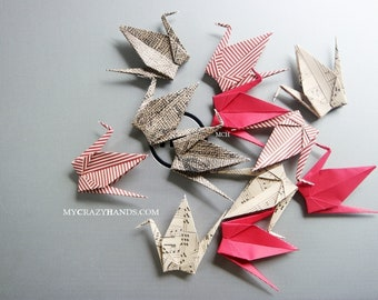 12 medium origami cranes 4'' wingspan and 2'' height     happiness, health, good luck -shades of red vintage