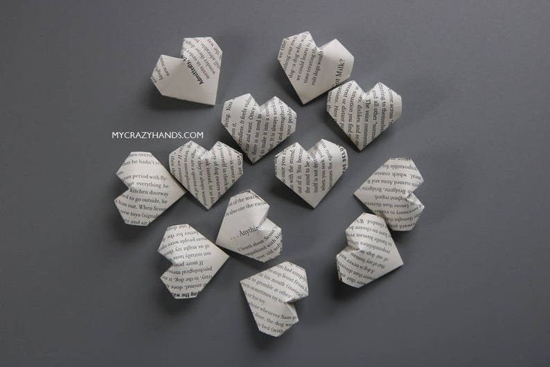 30 origami balloon hearts  book heart favors  book theme image 0