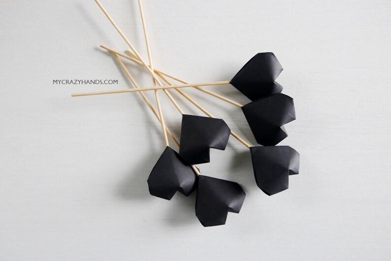6 black heart cake toppers  origami heart picks  image 0