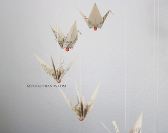 """Φ 8"""" origami crane mobile   origami nursery decor    origami corner wall hanging    gift for baby shower - vintage book pages"""