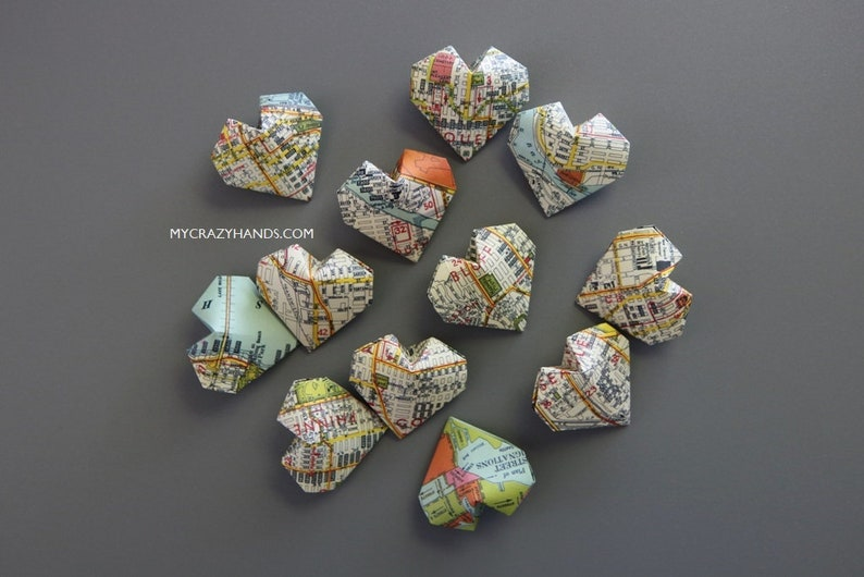12 texture Seattle map balloon hearts  origami heart favors image 0