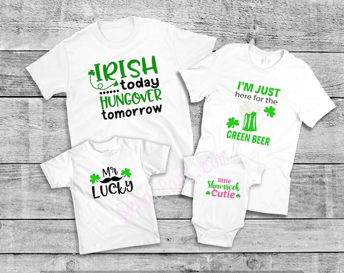 FREE SHIPPING Saint Patrick's, St. Pat's FAMILY pack of 4 shirts, mix and match Irish, Ireland, Kisses, Beer, Lucky Shirts