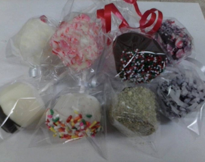 FREE SHIPPING 24 Chocolate Holiday, Valentines, St. Pats, Christmas Marshmallow, Candy Cane, Graham Cracker Pops