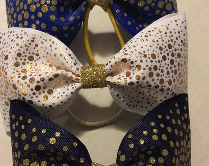 THREE gorgeous gold sparkle shimmer cheerleader, dancer, princess hair bow