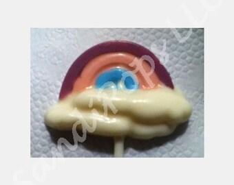 24 rainbow happy pastel Lollipop favors