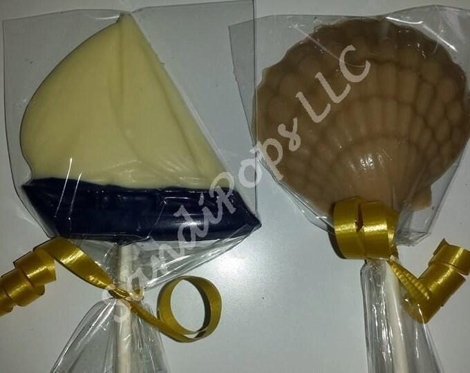 24 Summer, sailboat, nautical, sail, sea, Beach, Clam Shell Lollipop Party Favors