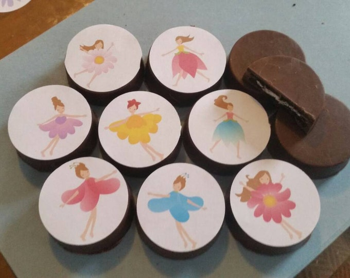 24 bright fun colorful flower fairies edible image chocolate covered oreos or chocolate lollipops