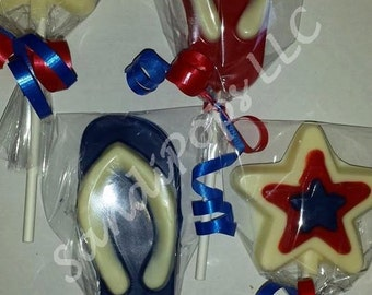 24 Red White and Blue Nautical Lollipop Party Favors- solid colors cheaper
