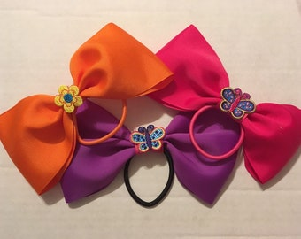 3 adorable tail less fairy butterfly flower princess cheer dance bows