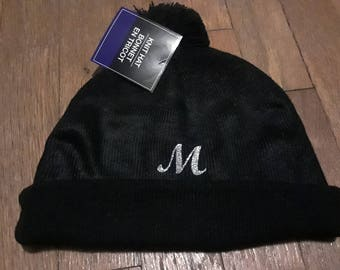 Customized knit hat with glitter letter, megaphone, dancer, figurine or letter  (name available at extra cost)
