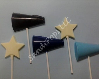 24 Cheer and stars (12 of each)  football, basketball, sport, Megaphone and star Chocolate Lollipops