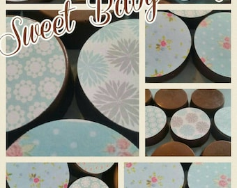 24 shabby Chic garden tea party sweet baby blue boy image chocolate covered oreos or chocolate lollipops