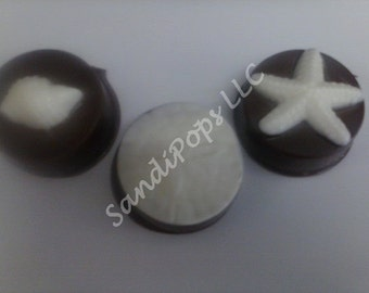 24 Chocolate covered Seashell, starfish, sand dollar Love Wedding Anniversary Valentines Oreos