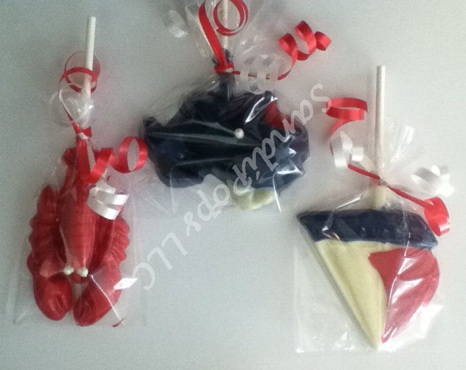 24 Red White and Blue Nautical, sail boat, sea, whale, lobster, crab, Anchor Lollipop Party Favors