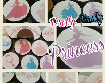 24 bright fun colorful princess edible image chocolate covered oreos or chocolate lollipops