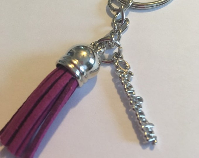 Cheerleader cheer tassel mini keychain bag tag