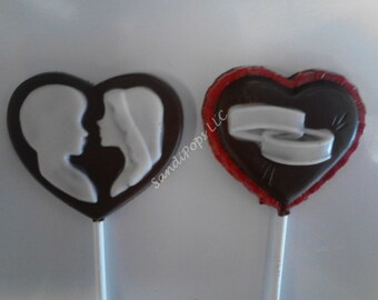 24 Wedding, Love, Anniversary, Bride / Groom silhouette and rings chocolate heart lollipops
