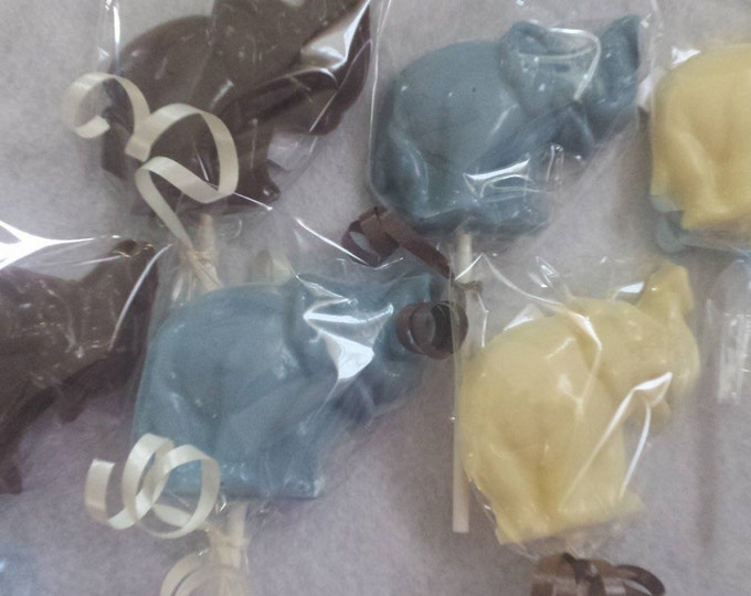 24 Solid color chocolate elephant for baby shower or babys first birthday