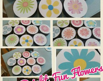 24 bright fun colorful flower edible image chocolate covered oreos or chocolate lollipops