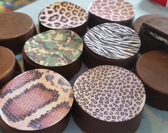 24 animal print zebra cheetah snakeskin leopard image chocolate covered oreos or chocolate lollipops