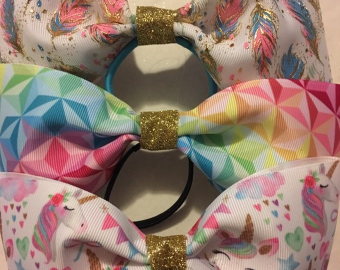 THREE unicorn magical inspired colorful cheer, dancer, princess tail less bows