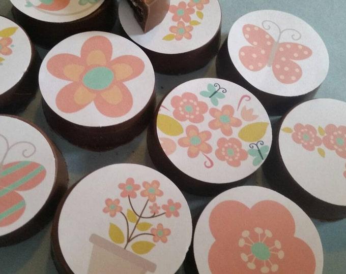 24 peachy keen floral garden tea party edible image chocolate covered oreos or chocolate lollipops