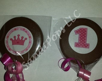 24 First 1st birthday princess pink lollipop or oreo cookie favors