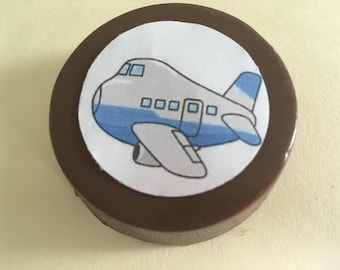 24 Customized Air Plane airplace helicopter air force lollipops or oreos with edible image