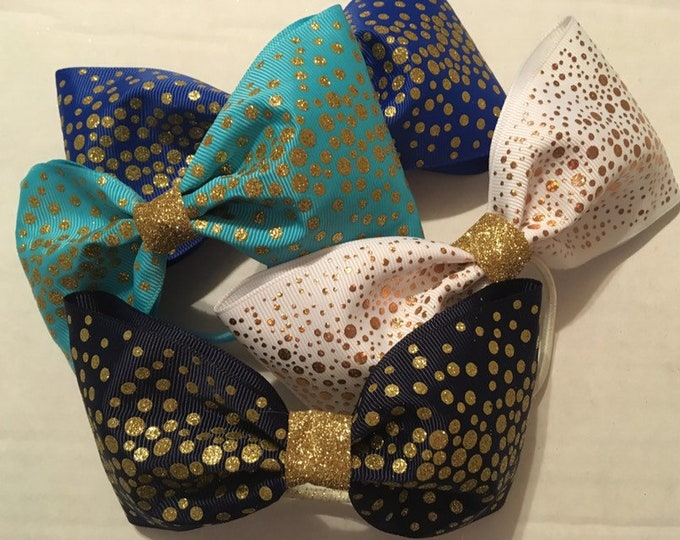FOUR shimmery, glitter, sparkle gold embellished tail less cheer bows
