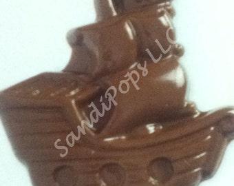 24 Pirate Ship Solid Milk, Dark, Vaniia Chocolate Lollipops