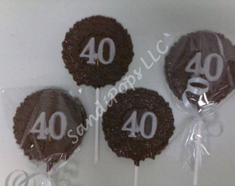 24- 40th birthday / anniversary Lollipop Party Favors- solid CHEAPER